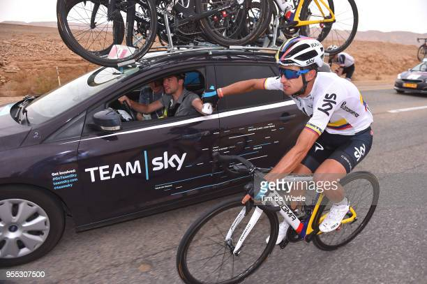 Sergio Luis Henao Montoya of Colombia and Team Sky / Nicolas Portal of France Sports Director / Feed Zone / Car / during the 101th Tour of Italy 2018...