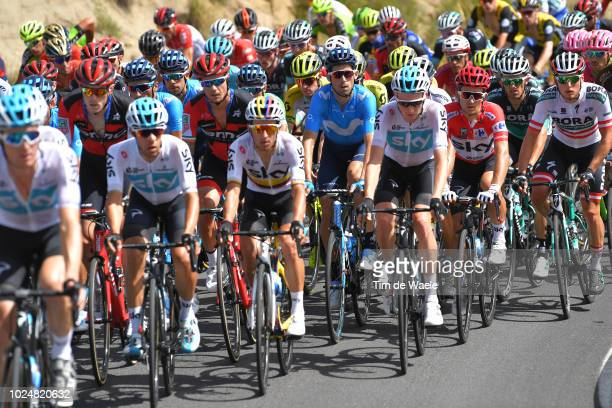 Sergio Luis Henao Montoya of Colombia and Team Sky / Tao Geoghegan Hart of Great Britain and Team Sky / Michal Kwiatkowski of Poland and Team Sky Red...