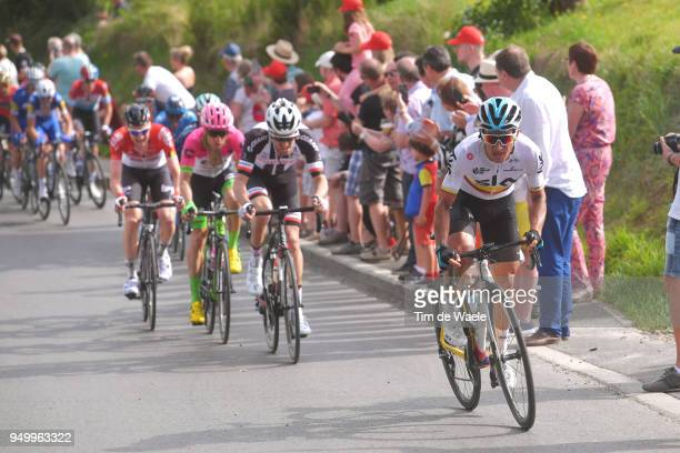 Sergio Luis Henao Montoya of Colombia and Team Sky / Tom Dumoulin of The Netherlands and Team Sunweb / during the104th LiegeBastogneLiege 2018 a...