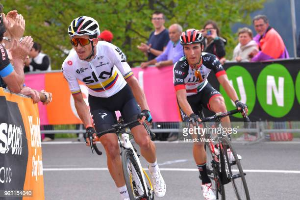 Sergio Luis Henao Montoya of Colombia and Team Sky / Valerio Conti of Italy and UAE Team Emirates / during the 101st Tour of Italy 2018 Stage 18 a...