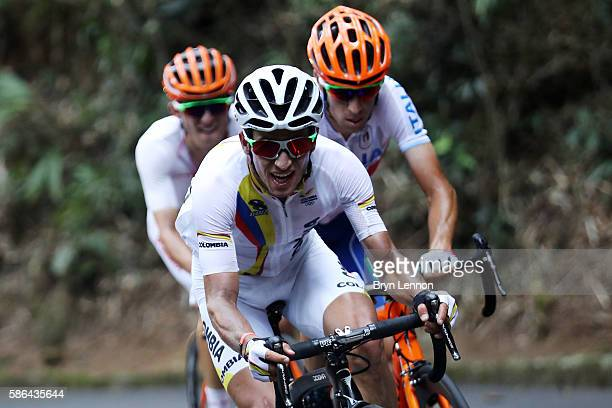 Sergio Luis Henao Montoya of Colombia competes during the Men's Road Race on Day 1 of the Rio 2016 Olympic Games at the Fort Copacabana on August 6...