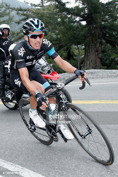Sergio Luis Henao Montoya of Columbia riding for Team Sky makes the final climb as he finished second in stage seven of the 2015 Amgen Tour of...