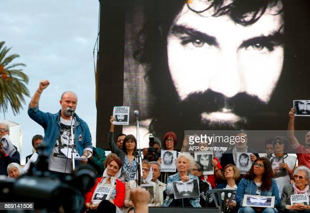 Sergio Maldonado brother of late activist Santiago Maldonado delivers a speech during a demonstration to demand justice three months after Santiago's...