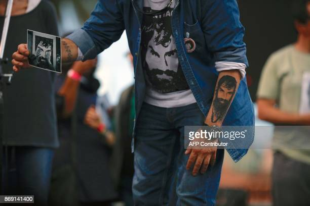 Sergio Maldonado brother of late activist Santiago Maldonado takes part in a demonstration to demand justice three months after Santiago's...