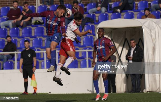 Sergio Marakis of CD Cova da Piedade with Pepo of UD Vilafranquense in action during the Liga Pro match between CD Cova da Piedade and UD...