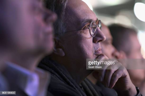 Sergio Marchionne CEO of Fiat Chrysler Automobiles watches the introduction of the 2019 Ram 1500 pickup truck at the North American International...