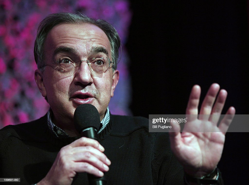 Sergio Marchionne, Chairman and CEO , Chrysler Group LLC, and CEO, Fiat S.p.A., speaks at the Inforum 11th Annual Auto Show Breakfast at the Detroit Mariott Renaissance Center January 18, 2013 in Detroit, Michigan. The topics of the speech were Marchionne's leadership principles, winning the talent war with diversity and inclusion and the making of Chrysler's Superbowl ads.