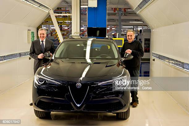 Sergio Marchionne chief executive officer of Fiat Chrysler Automobiles NV and Alfredo Altavilla chief operating officer for EMEA FCA with the new...