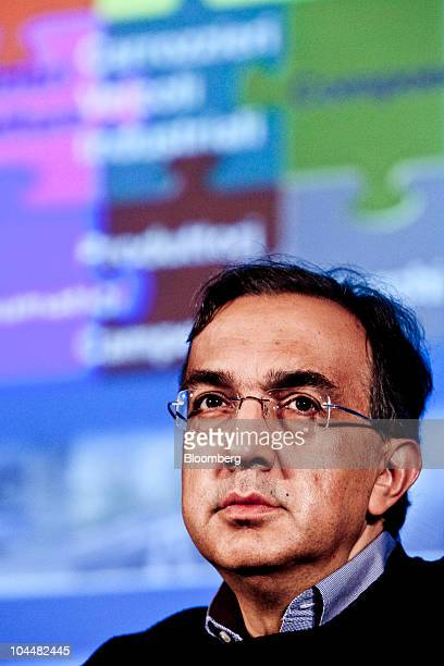 Sergio Marchionne chief executive officer of Fiat SpA pauses during the Associazione Nazionale Fra Industrie Automobilistiche Italian automotive...