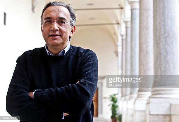 Sergio Marchionne chief executive officer of Fiat SpA poses for a photograph after the Associazione Nazionale Fra Industrie Automobilistiche Italian...