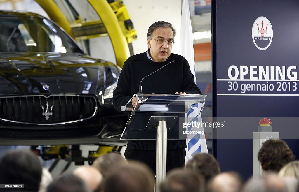 Sergio Marchionne, chief executive officer of Fiat SpA, speaks during the inauguration of Maserati's Grugliasco factory in Turin, Italy, on Wednesday, Jan. 30, 2013. Marchionne said the Italian carmaker narrowed losses in Europe in the fourth quarter, helping it achieve full-year earnings that were in line with its forecasts. Photographer: Alessia Pierdomenico/Bloomberg via Getty Images