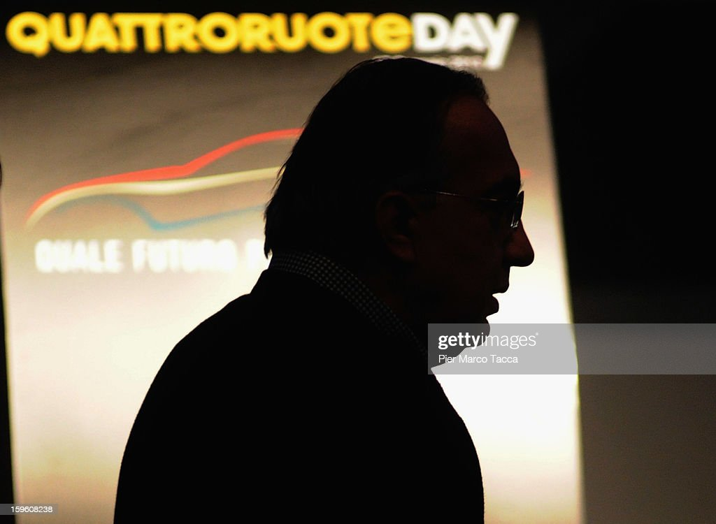 Sergio Marchionne, President of FIAT and Chrysler arrives at Quattroruote Day 2013 on January 17, 2013 in Milan, Italy. Quattroruote Day is an annual conference organized by the publishing firm Domus, which this year focuses on the future of the automobile in Italy.