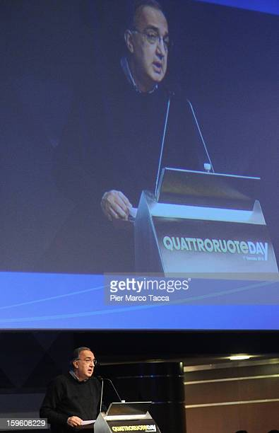 Sergio Marchionne President of FIAT and Chrysler makes his speech at Quattroruote Day 2013 on January 17 2013 in Milan Italy Quattroruote Day is an...