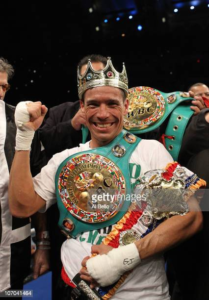 Sergio Martinez celebrates after knocking out Paul Williams in the second round of their Middleweight Championship fight on November 20 2010 at The...