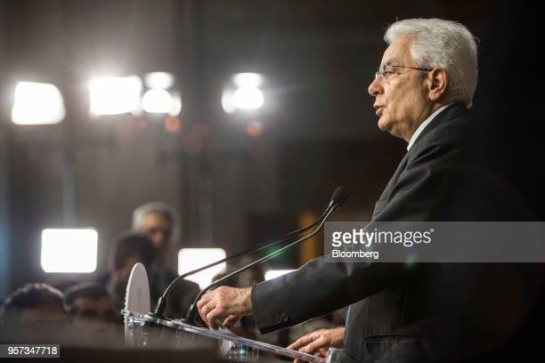 Sergio Mattarella Italy's President speaks at a news conference following his meetings with Italian political parties at the Quirinale Palace in Rome...