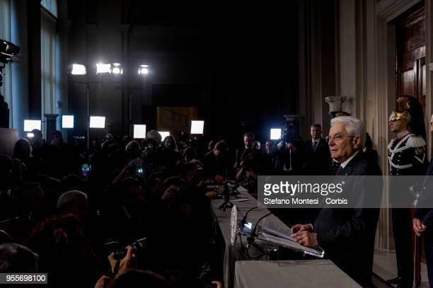 Sergio Mattarella Italy's president speaks at a news conference following meetings with political parties at the Quirinale Palace in the new round of...