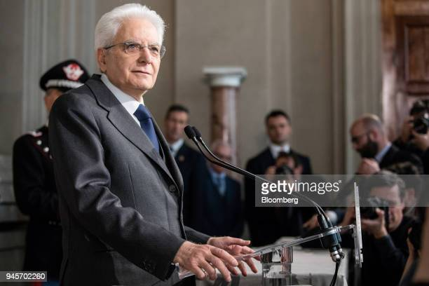 Sergio Mattarella Italy's president speaks during a news conference following meetings with political parties at the Quirinale Palace in Rome Italy...