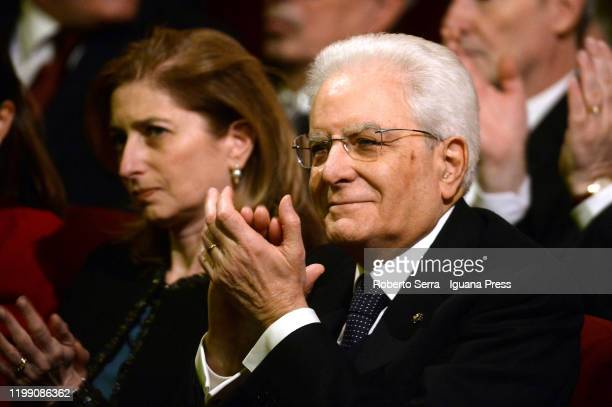 Sergio Mattarella President of Italian republic with his daughter Laura Mattarella attends the opening ceremony of Parma 2020 Italian Culture Capital...
