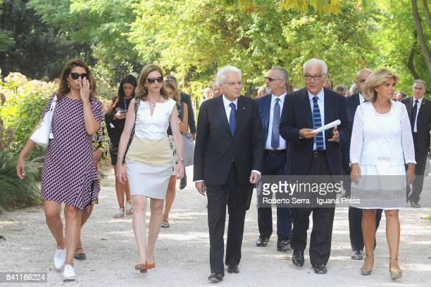 Sergio Mattarella the President of the Italian Republic with his daughterLauraMattarella Paolo Baratta President of Biennale and Federica Galloni...