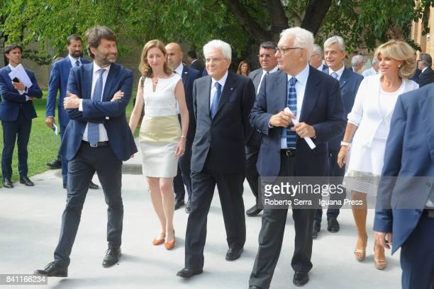 Sergio Mattarella the President of the Italian Republic with his daughter Laura Mattarella and Dario Franceschini Minister for Culture and Paolo...