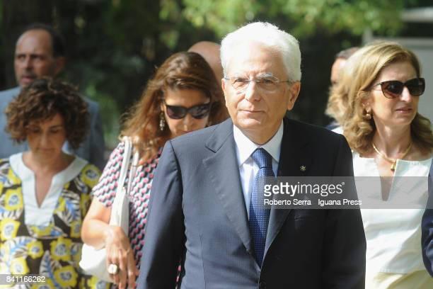 Sergio Mattarella the President of the Italian Republic with his daughter Laura Mattarella visits the Italian Pavillion of International Art Biennale...
