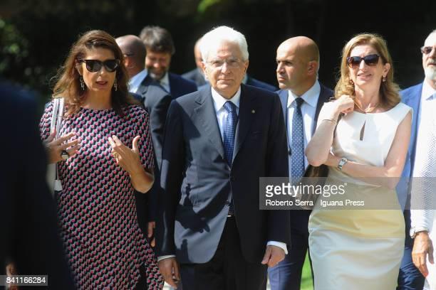 Sergio Mattarella the President of the Italian Republic with his daughter Laura Mattarella and Christine Macel curator of the Biennale visits the...
