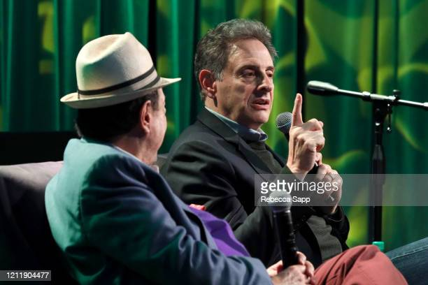 Sergio Mendes and John Scheinfeld speak onstage at Reel To Reel Sergio Mendes In The Key Of Joy at The GRAMMY Museum on March 11 2020 in Los Angeles...