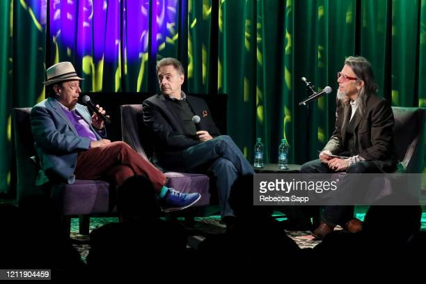 Sergio Mendes and John Scheinfeld speak with Scott Goldman at Reel To Reel Sergio Mendes In The Key Of Joy at The GRAMMY Museum on March 11 2020 in...