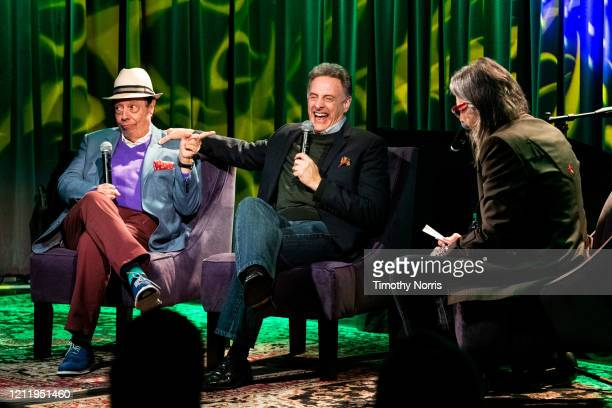 Sergio Mendes John Scheinfeld and Scott Goldman speak at The GRAMMY Museum on March 11 2020 in Los Angeles California
