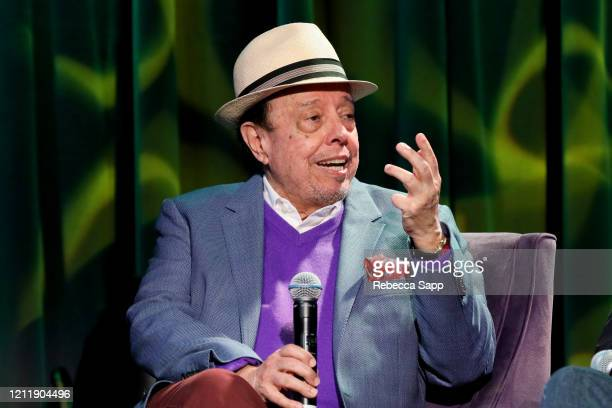 Sergio Mendes speaks onstage at Reel To Reel Sergio Mendes In The Key Of Joy at The GRAMMY Museum on March 11 2020 in Los Angeles California