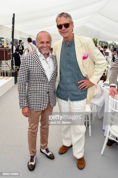 Sergio Momo and Jeremy Irons attend the Xerjoff Royal Charity Polo Cup 2018 on July 14 2018 in Newbury England