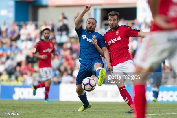 Sergio Mora and Alex Mora during the La Liga second league match between Getafe CF and Gimnastic Tarragona at Coliseum Alfonso Perez stadium on April...