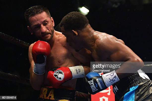 Sergio Mora and Daniel Jacobs fight during the WBA Middleweight Championship on September 9, 2016 in Reading, Pennsylvania.