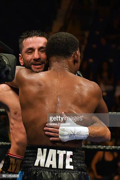 Sergio Mora and Daniel Jacobs hug after the WBA Middleweight Championship on September 9, 2016 in Reading, Pennsylvania.