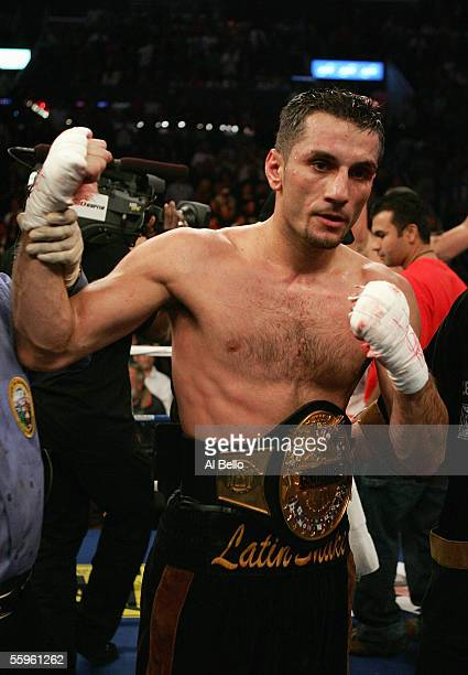 Sergio Mora celebrates his split decision win against Peter Manfredo Jr. After their middleweight fight on October 15, 2005 at the Staples Center in...