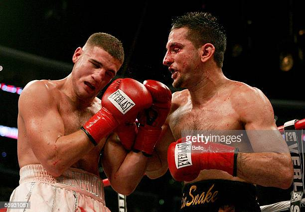 Sergio Mora punches Peter Manfredo Jr. During their middleweight fight on October 15, 2005 at the Staples Center in Los Angeles, California.