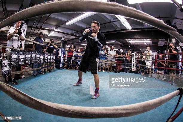 Sergio Mora works out and speaks to the Press on Media Workout Day at Gleason's Gym on July 29, 2015 in Brooklyn.