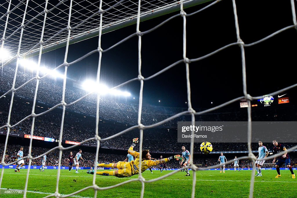 Sergio of Celta de Vigo makes a safe during the La Liga match between FC Barcelona and Celta de Vigo at Camp Nou on November 1, 2014 in Barcelona, Spain.