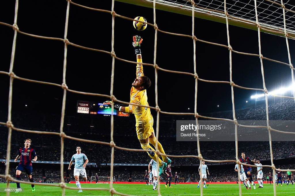 Sergio of Celta de Vigo makes a save during the La Liga match between FC Barcelona and Celta de Vigo at Camp Nou on November 1, 2014 in Barcelona, Spain.