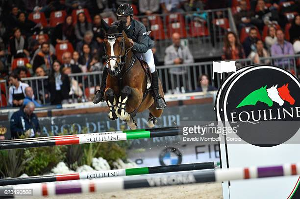 Sergio of Spain rides Arrayan during the Jump off the Longines FEI World Cup Jumping Verona 2016 on November 13 2016 in Verona Italy