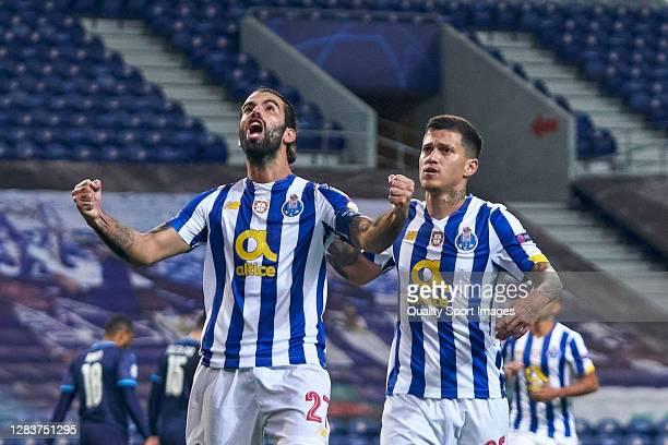 Sergio Oliveira of FC Porto celebrates after scoring his team's second goal during the UEFA Champions League Group C stage match between FC Porto and...