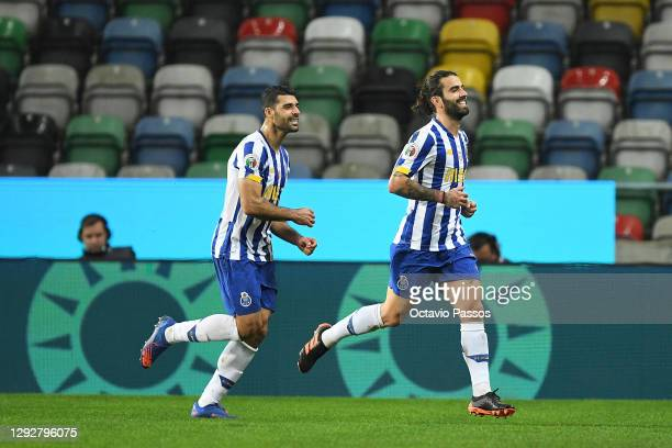 Sergio Oliveira of FC Porto celebrates after scoring their sides first goal during the Portuguese Super Cup final between FC Porto and SL Benfica at...