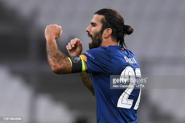 Sergio Oliveira of FC Porto celebrates after scoring their team's second goal during the UEFA Champions League Group C stage match between Olympique...