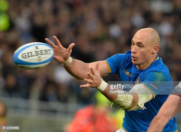 Sergio Parisse during the RBS Six Nations match between Italy and England at the Stadio Olimpico on February 04 2018 in Rome Italy