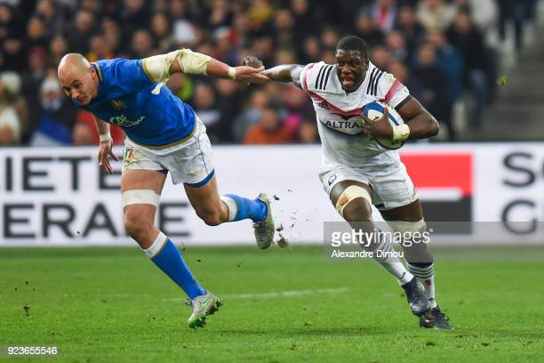 Sergio Parisse of Italy and Yacouba Camara of France during the NatWest Six Nations match between France and Italy at Stade Velodrome on February 23...