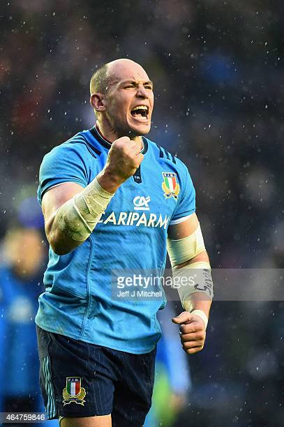 Sergio Parisse of Italy celebtates after beating Scotland during the RBS Six Nations match between Scotland and Italy at Murrayfield stadium on...