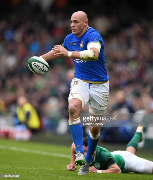 Sergio Parisse of Italy during the NatWest Six Nations match between Ireland and Italy at Aviva Stadium on February 10 2018 in Dublin Ireland