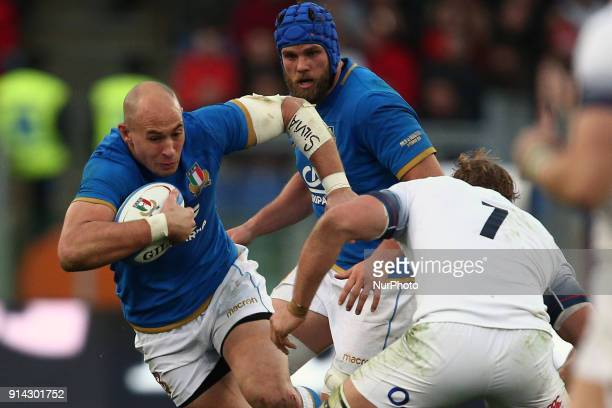 Sergio Parisse of Italy in action during the Six Nations 2018 match between Italy and England at Olympic Stadium on February 04 2018 in Rome Italy