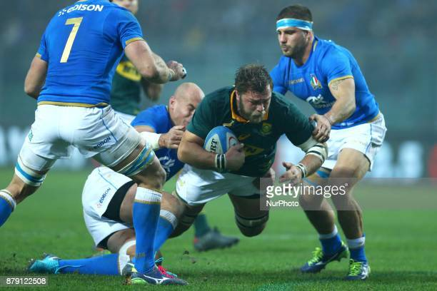 Sergio Parisse of Italy tackling on Duane Vermeulen of South Africa at Plebiscito Stadium in Padova Italy on November 25 during the Rugby test match...