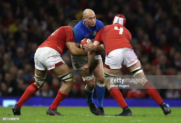 Sergio Parisse of Italy takes on Cory Hill and Taulupe Faletau during the NatWest Six Nations match between Wales and Italy at the Principality...